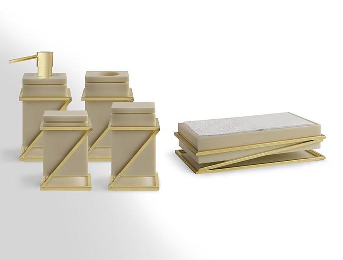 Linha Zeta, cor linho e metal ouro deca